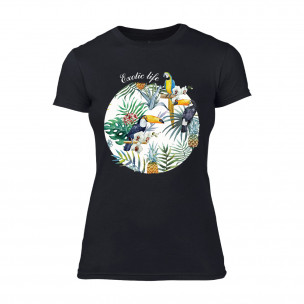 Дамска черна тениска Exotic Life