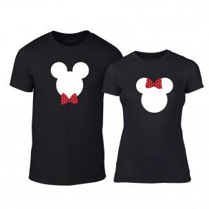Тениски за двойки Mickey & Minnie черни TEEMAN
