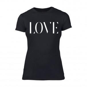 Дамска черна тениска Love