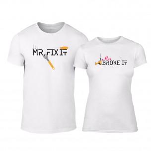 Тениски за двойки Mrs. Broke It & Mr. Fix It бели