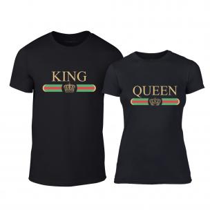 Тениски за двойки Fashion King Queen черни 2