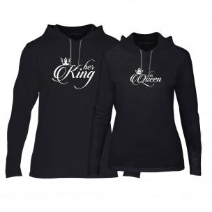 Суичъри за двойки King & Queen в черно