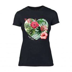 Дамска черна тениска Exotic Flowers