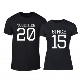 Тениски за двойки Together Since 2015 черни
