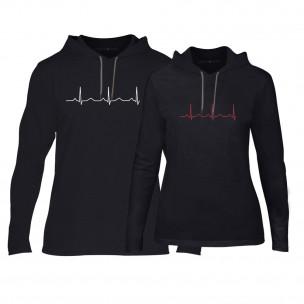 Суичъри за двойки Heartbeats в черно