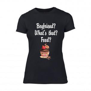 Дамска черна тениска Boyfriend? What's that?
