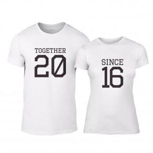 Тениски за двойки Together Since 2016 бели