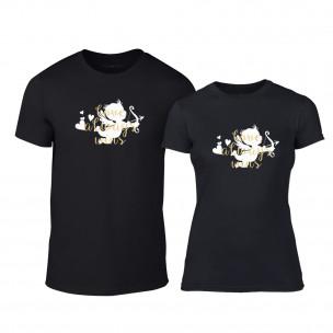 Тениски за двойки Love Always Wins черни