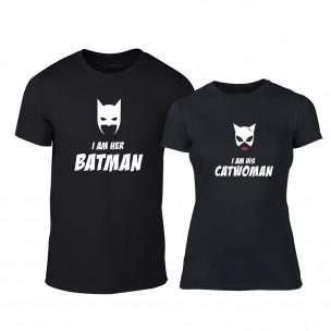 Тениски за двойки Batman & Catwoman черни
