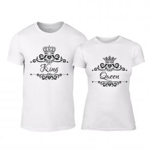 Тениски за двойки Romantic King Queen бели
