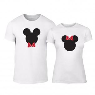 Тениски за двойки Mickey & Minnie бели