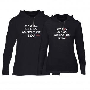 Суичъри за двойки The Awesome Boy & Girl в черно