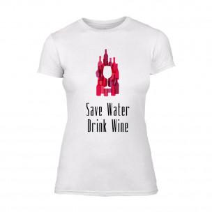 Дамска бяла тениска Save Water Drink Wine