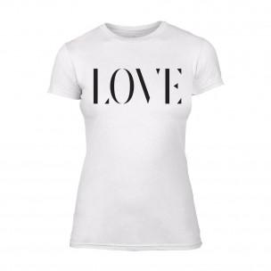 Дамска бяла тениска Love