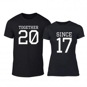 Тениски за двойки Together Since 2017 черни