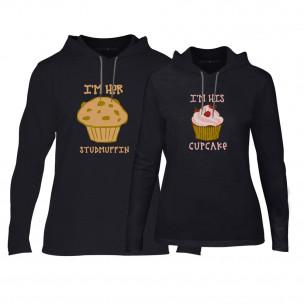 Суичъри за двойки Muffin Cupcake в черно