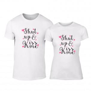 Тениски за двойки Shut up & Kiss me бели