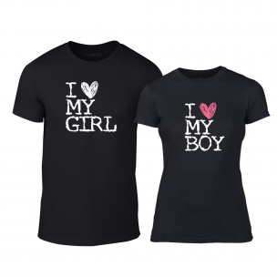 Тениски за двойки Love My Girl Love My Boy черни TEEMAN