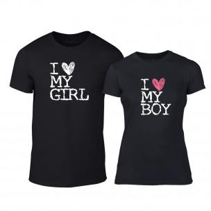Тениски за двойки Love My Girl Love My Boy черни