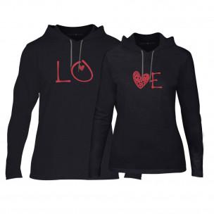 Суичъри за двойки LOVE в черно