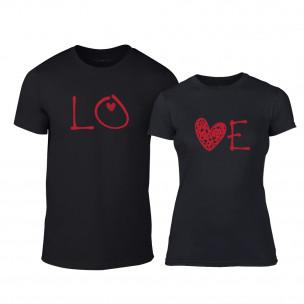 Тениски за двойки LOVE черни