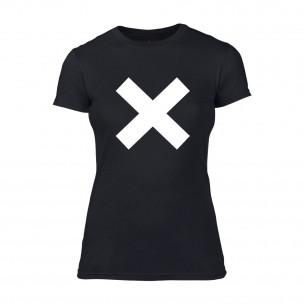 Дамска черна тениска X