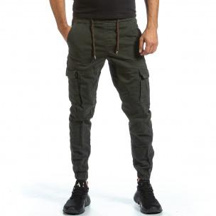 Зелен Cargo Jogger панталон с ластик на кръста
