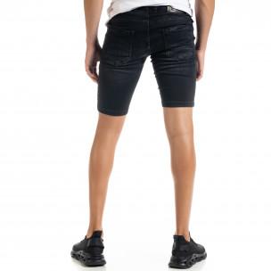 Slim fit мъжки черни къси дънки с прокъсвания  2