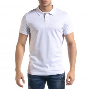 Basic мъжка бяла тениска Polo shirt