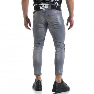 Мъжки сиви дънки Slim fit с пръски боя  2