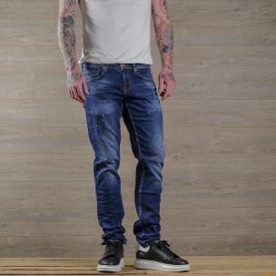 Slim fit мъжки сини дънки с леки прокъсвания
