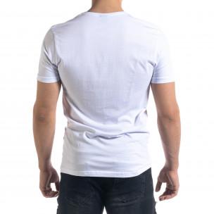 Бяла мъжка тениска с джоб  2