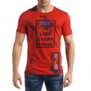 Мъжка червена тениска с принт
