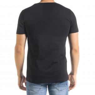Мъжка черна тениска с принт Easier  2