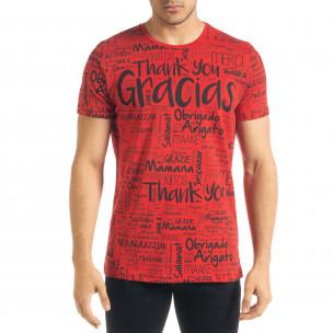 Мъжка червена тениска Thank You