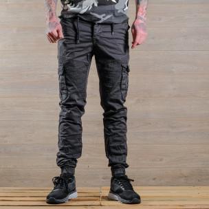 Сив мъжки Cargo Jogger в рокерски стил 2