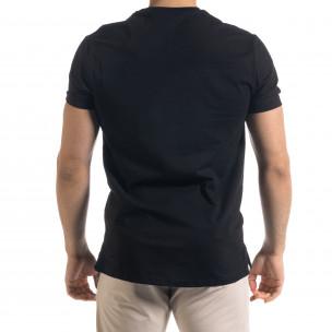 Мъжка черна тениска с обърнати шевове  2