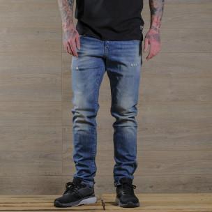 Washed Slim fit мъжки сини дънки  2