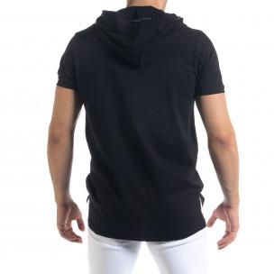 Черна мъжка тениска с джоб и качулка 2