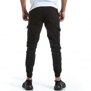 Черен Cargo Jogger панталон с ластик на кръста Blackzi 2