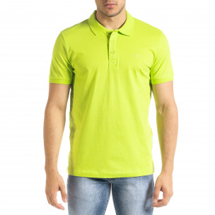 Basic Polo мъжка тениска неоново зелено