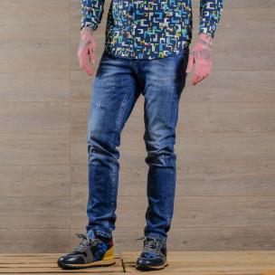 Slim fit мъжки изтъркани дънки в синьо  2