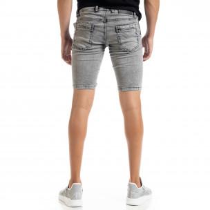 Slim fit мъжки сиви къси дънки  2