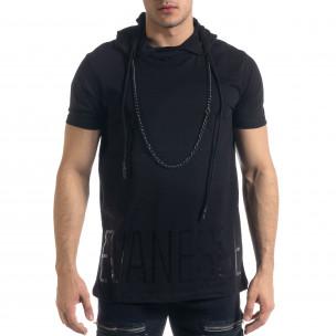 Черна мъжка тениска с качулка
