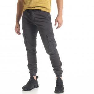 Мъжки сив карго панталон с ластик на крачолите