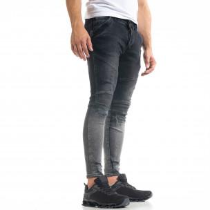 Skinny fit мъжки черни дънки Biker Destroyed  2