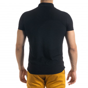 Slim fit черна мъжка тениска с яка и цип  2