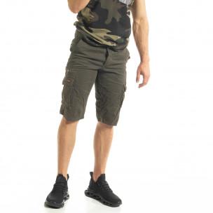 Мъжки зелени къси карго панталони  2