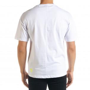 Мъжка бяла тениска с джоб  2