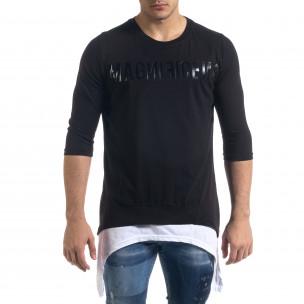 Мъжка черна тениска с удължени краища